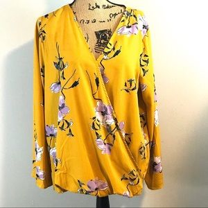 Gibson Latimer Mustard Floral Plus Size Blouse